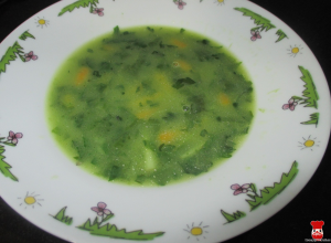 Polievka z listového špenátu so zeleninou