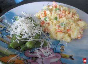 Zelená fazuľka na pare a zemiakový šalát