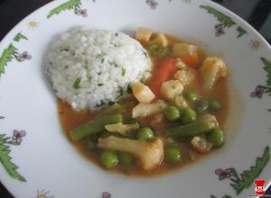 Zelenina v omáčke s ryžou